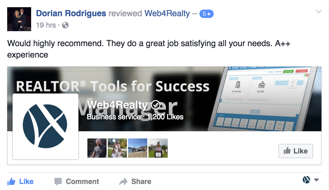 Web4Realty Facebook Review 1