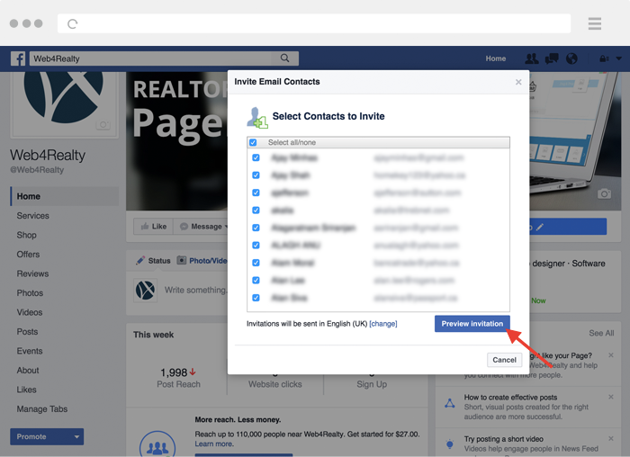 setting up realtor facebook page